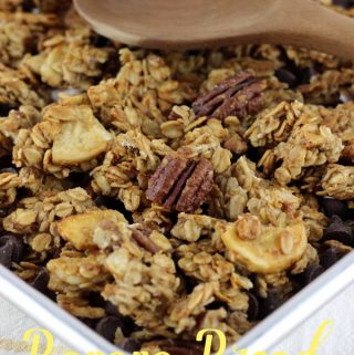 This 3o minute Banana Bread Granola is healthier than any store bought brand, and is super simple to make!   EverydayMadeFresh.com