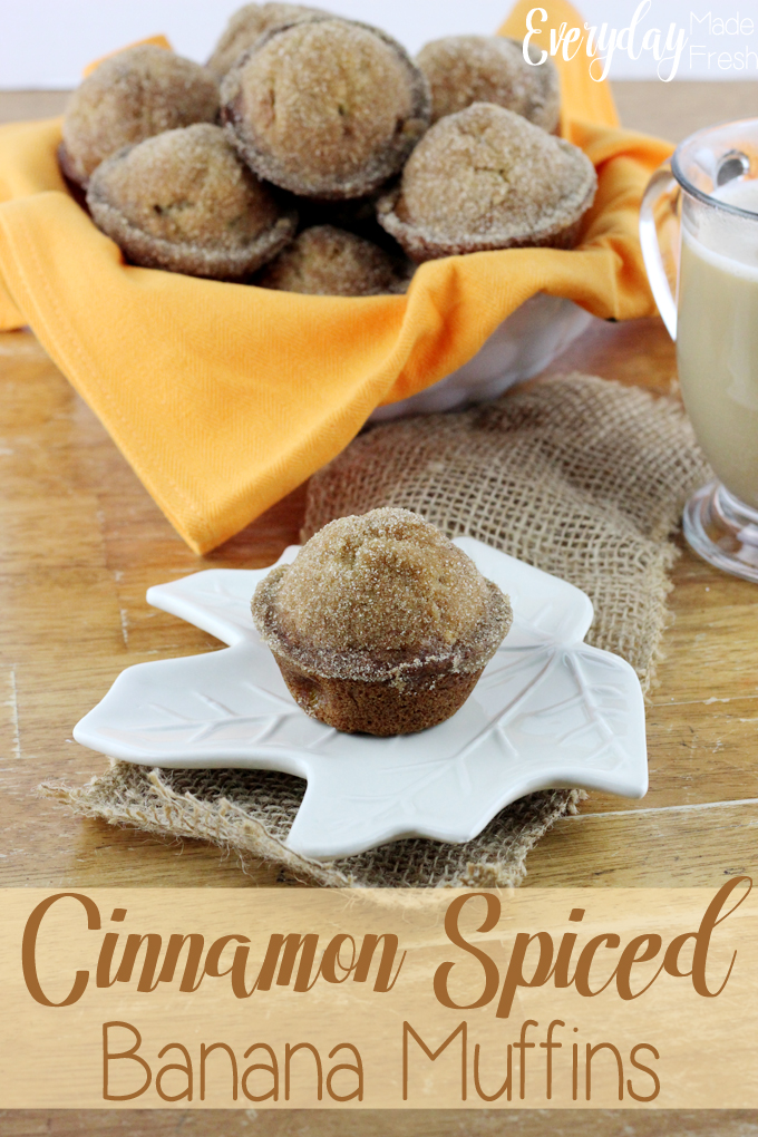 Cinnamon Spiced Banana Muffins are made in one bowl, so quick and easy to make, and are perfect for a grab and go breakfast.  | EverydayMadeFresh.com