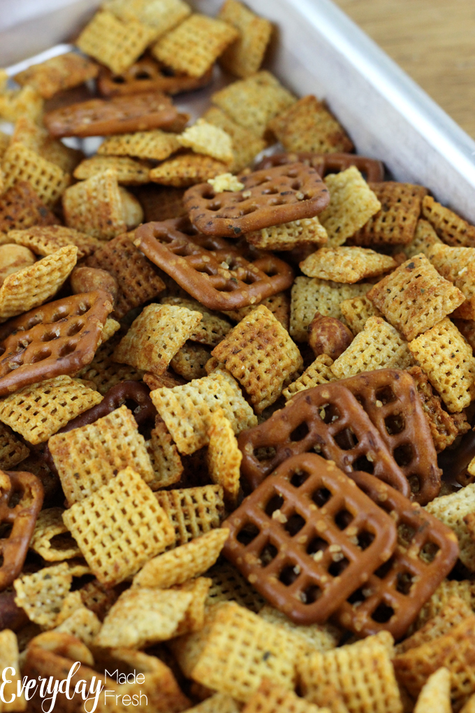 Salty, crunchy, spicy..these are what make the perfect snack mix. Spicy Ranch Chex Mix is perfect for game day munching, after school hunger, or any other time! | EverydayMadeFresh.com