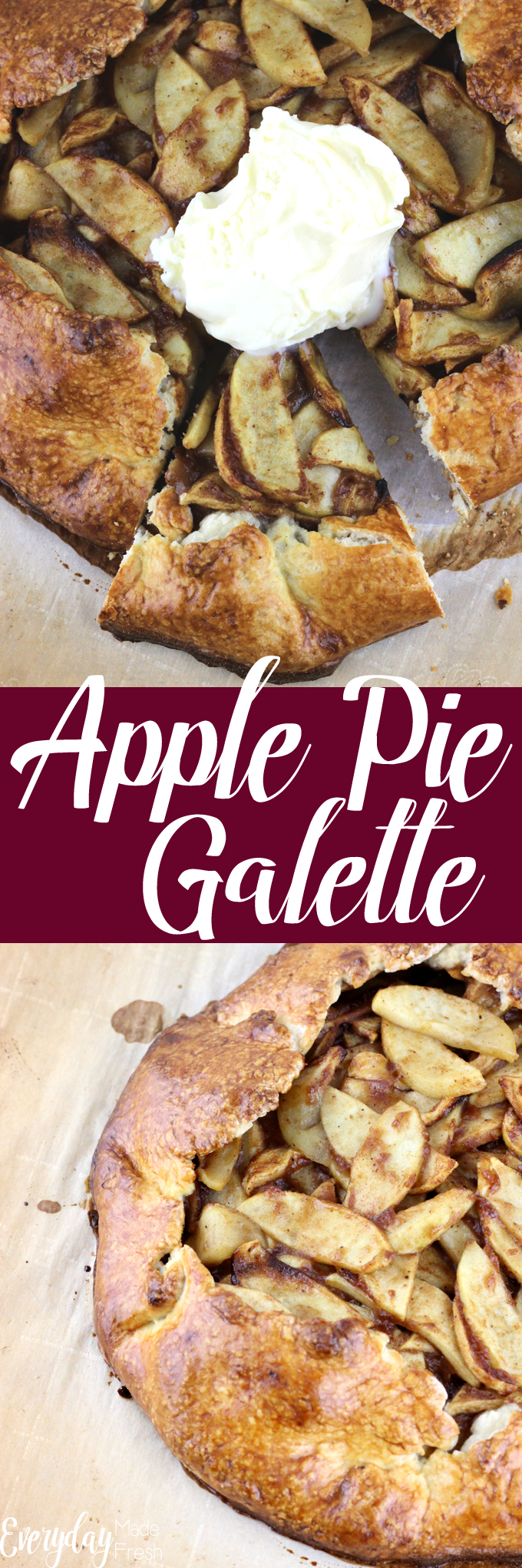 The easiest shortcut to pie for those of us that don't want to fuss with all the trouble. This Apple Pie Galette tastes just like apple pie but far easier! It's the perfect addition to your holiday table. | EverydayMadeFresh.com