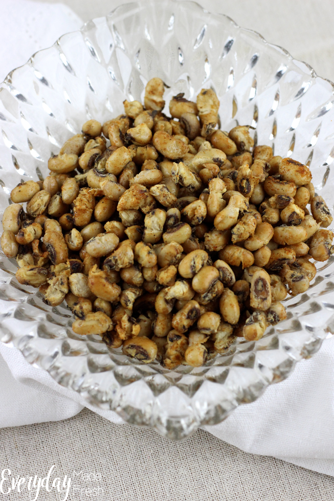 Overhead close up of fried black eyed peas.
