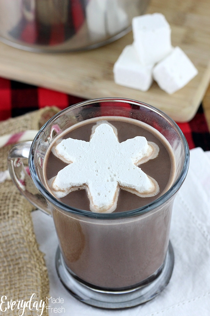 Smooth and creamy this Peppermint Hot Chocolate is a great way to warm up when it's cold out! Top it with marshmallows for the perfect winter treat. | EverydayMadeFresh.com