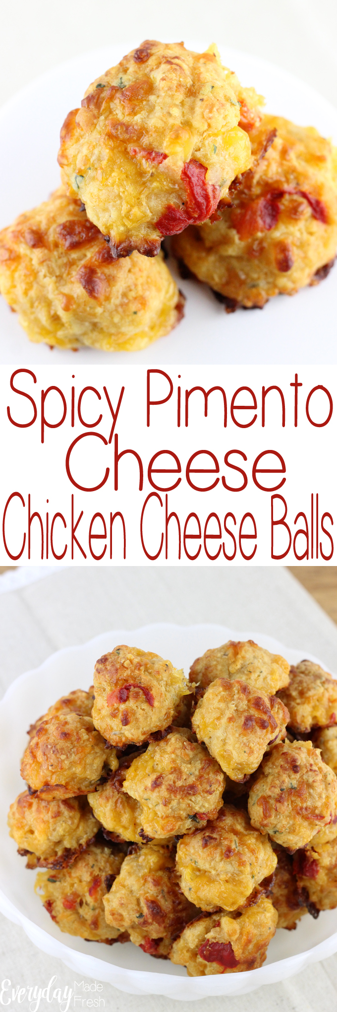 Spicy Pimento Cheese Chicken Cheeseballs are the perfect way to spice up a party! With only a few ingredients you have the perfect appetizer for any occasion. | EverydayMadeFresh.com