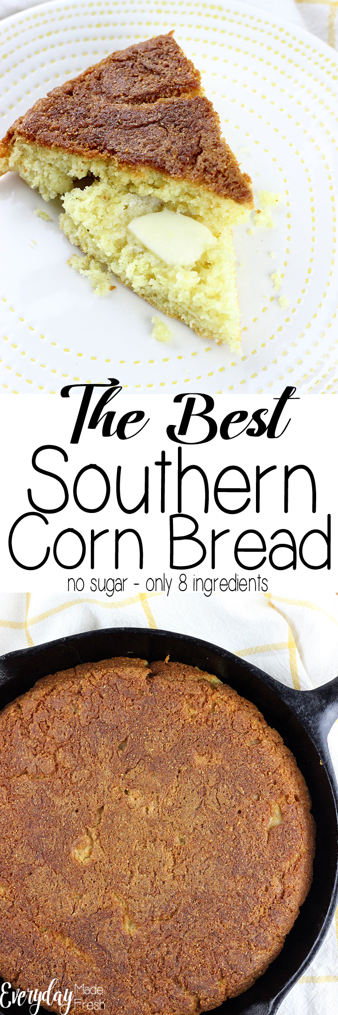 Toss the boxed mix, grab 8 ingredients that you probably already have, and make The Best Southern Corn Bread asap! You won't regret it, and your family will love it. Plus, there is no sugar!