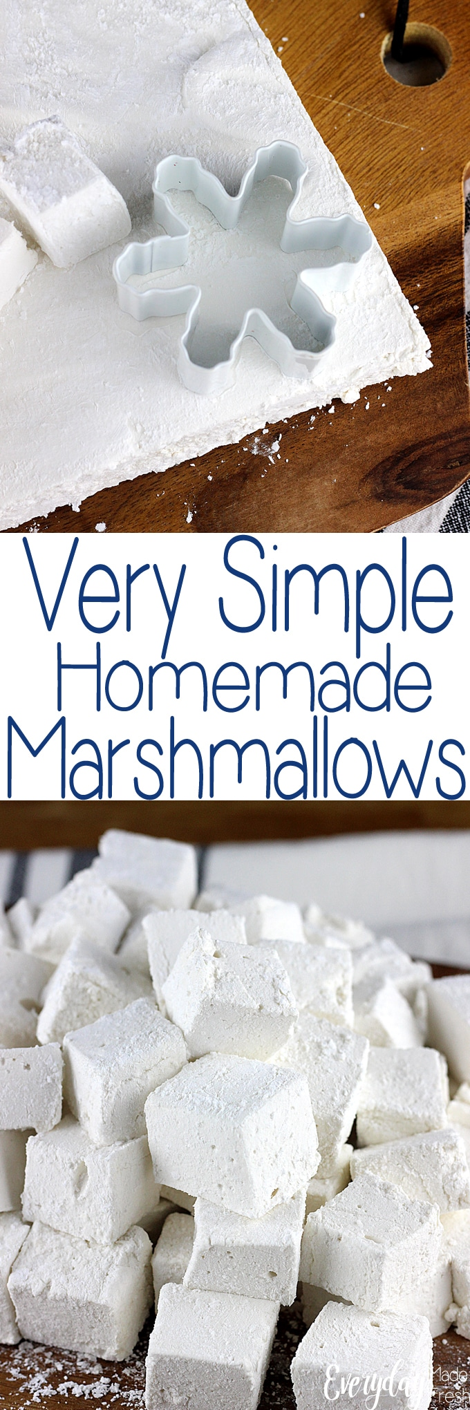 Making marshmallows at home isn't hard, and you can control what the ingredients are. These Very Simple Homemade Marshmallows are easy to make, and you can cut them into any shape you'd like! | EverydayMadeFresh.com