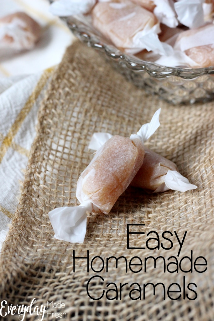 These Easy Homemade Caramels are soft and chewy, and ready to indulge in 30 minutes. This makes an excellent gift or to keep for yourself! | EverydayMadeFresh.com