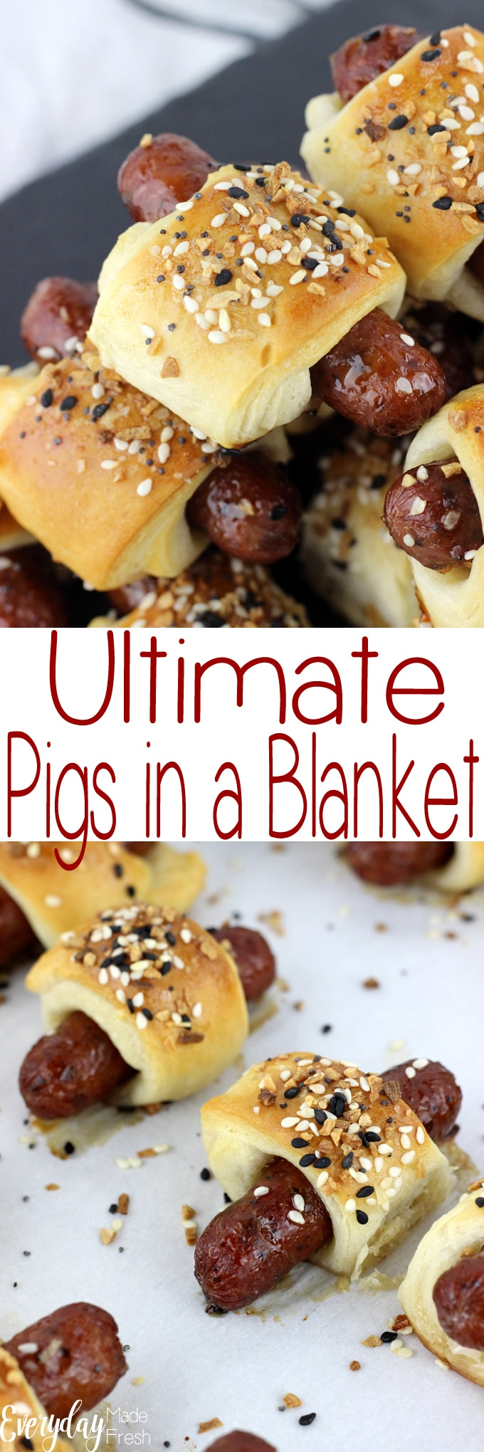 Nothing says appetizer quite like the traditional little sausages wrapped in dough. However, we've turned up the flavor with this updated version, Ultimate Pigs in a Blanket! | EverydayMadeFresh.com