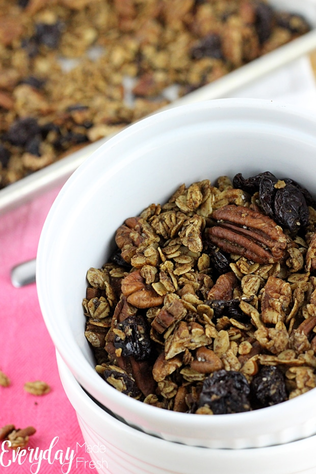 This Cherry Pecan Granola recipe is naturally sweetened with maple syrup. It's made with oats, olive oil, pecans and dried cherries. | EverydayMadeFresh.com