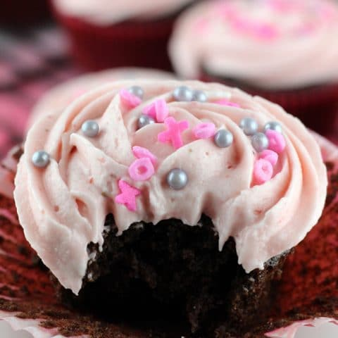 Chocolate Cupcakes with Fresh Strawberry Buttercream
