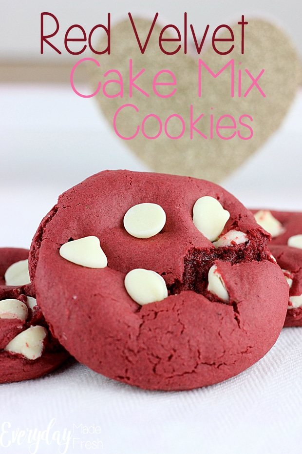 3 ingredients + chocolate chips is all you need to make these Red Velvet Cake Mix Cookies. This base recipe can be made with ANY cake mix, making cookie flavor possibilities endless.   EverydayMadeFresh.com