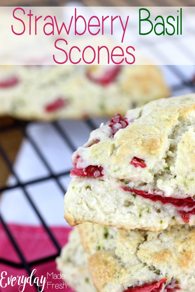 Strawberry Basil Scones have a combination that is both sweet and savory. The sweetness of the strawberry and the herbaceous of the basil pairs perfectly together. | EverydayMadeFresh.com