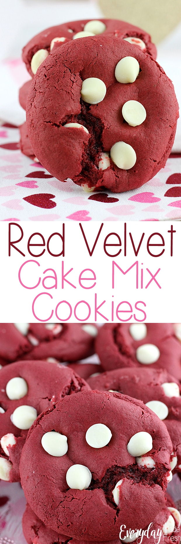 3 ingredients + chocolate chips is all you need to make these Red Velvet Cake Mix Cookies. This base recipe can be made with ANY cake mix, making cookie flavor possibilities endless. | EverydayMadeFresh.com