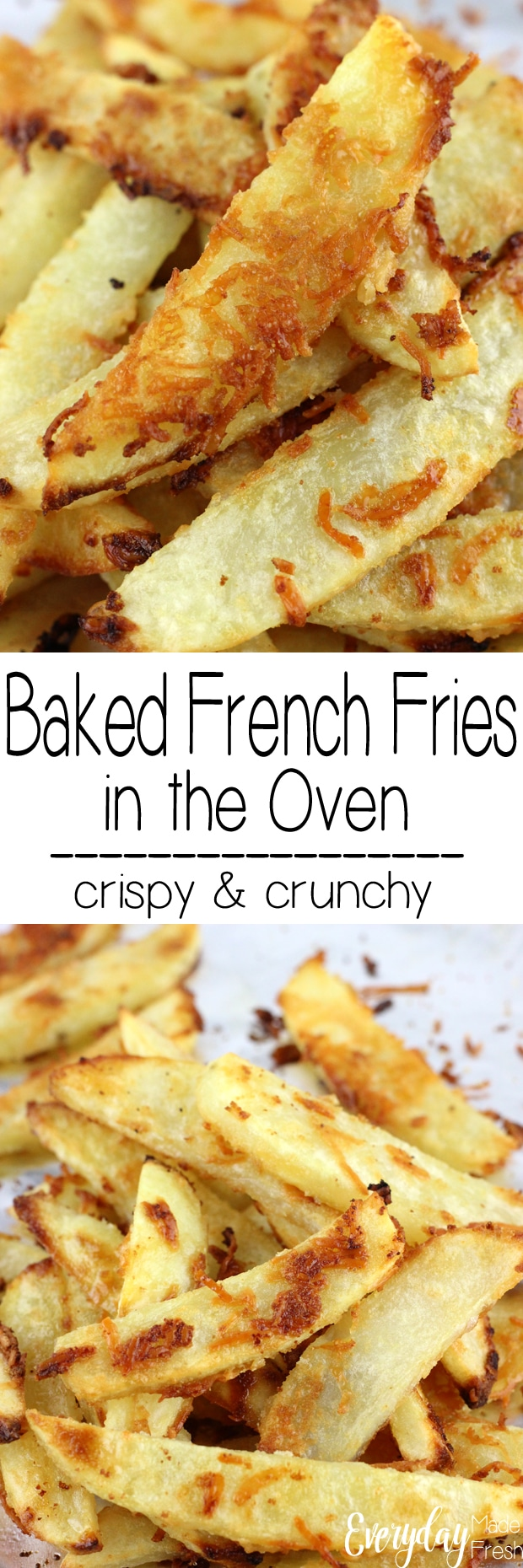 These Baked French Fries in the Oven are simple to make, ready in less than 30 minutes, and always crispy and crunchy. | EverydayMadeFresh.com