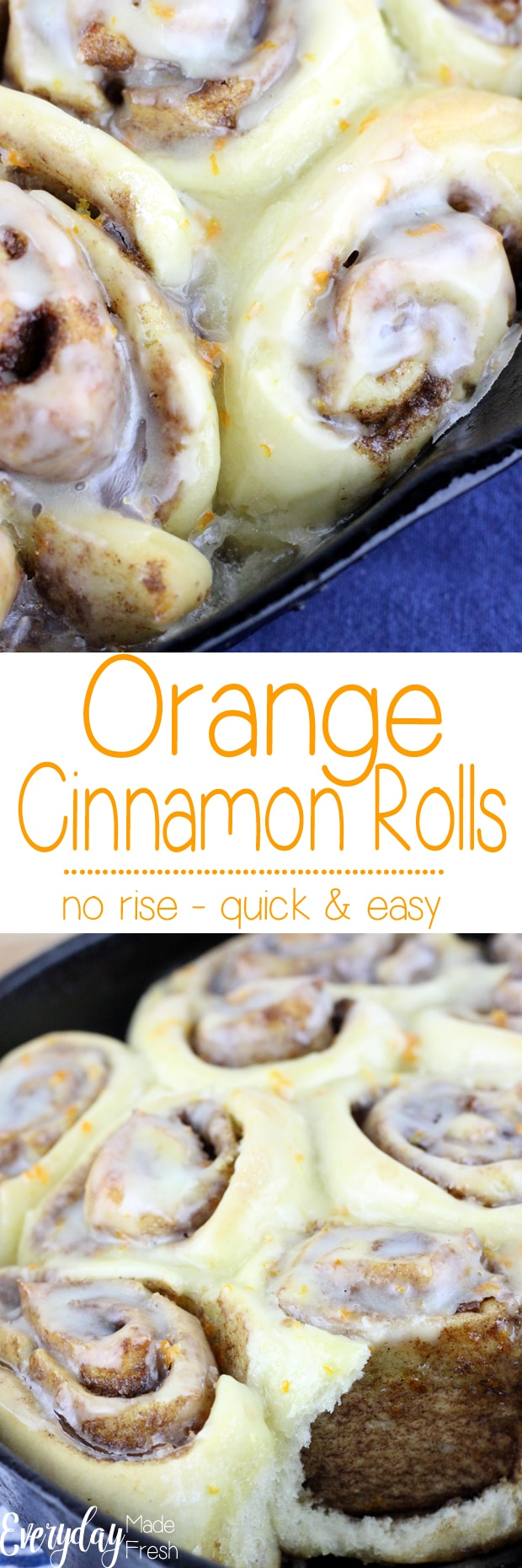 These Orange Cinnamon Rolls are so easy, anybody can make them! The tender dough turns out the perfect cinnamon roll every time.   EverydayMadeFresh.com