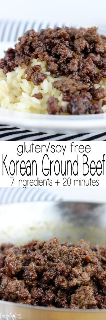 This Gluten Free Korean Ground Beef is sweet and spicy and completely addictive! It will soon become a family favorite, that everyone requests! It's ready in 20 minutes and only requires 7 ingredients! | EverydayMadeFresh.com