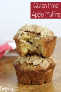 Gluten Free Apple Muffins are moist, tender, and full of fresh apple! You'd never guess these were gluten free. | EverydayMadeFresh.com