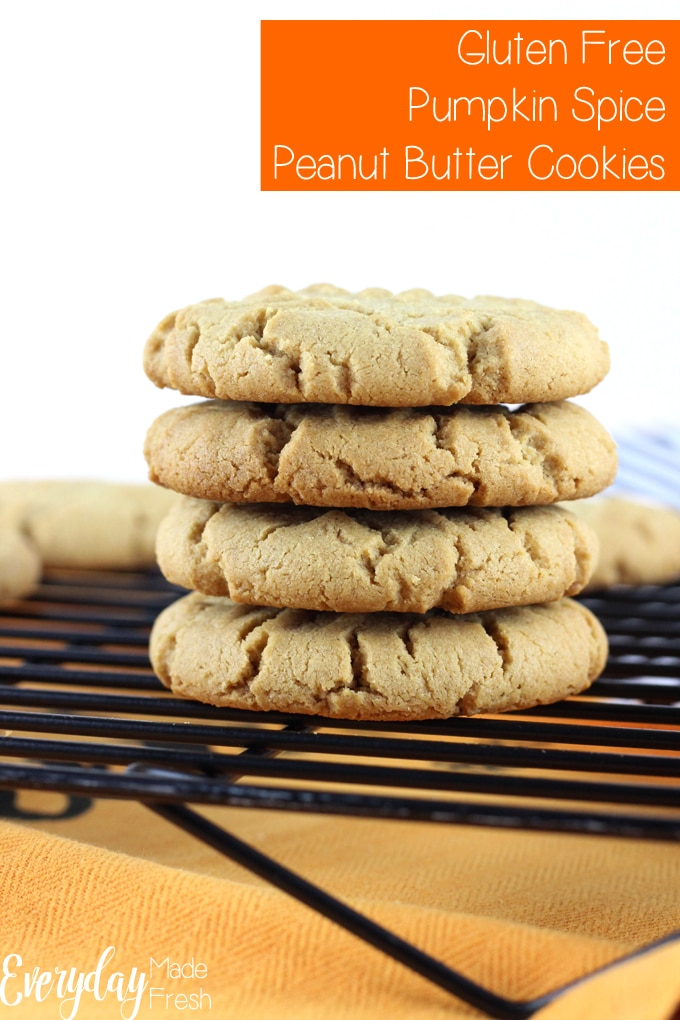 Your favorite peanut butter cookie gets a fall twist: Gluten Free Pumpkin Spice Peanut Butter Cookies are thick and chewy, making them the perfect cookie.   EverydayMadeFresh.com