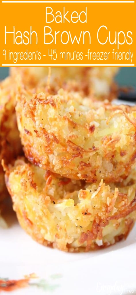 Cheesy and crispy hash browns baked to a golden brown are perfect for your next breakfast! These Baked Hash Brown Cups will go with anything you have prepared. | EverydayMadeFresh.com