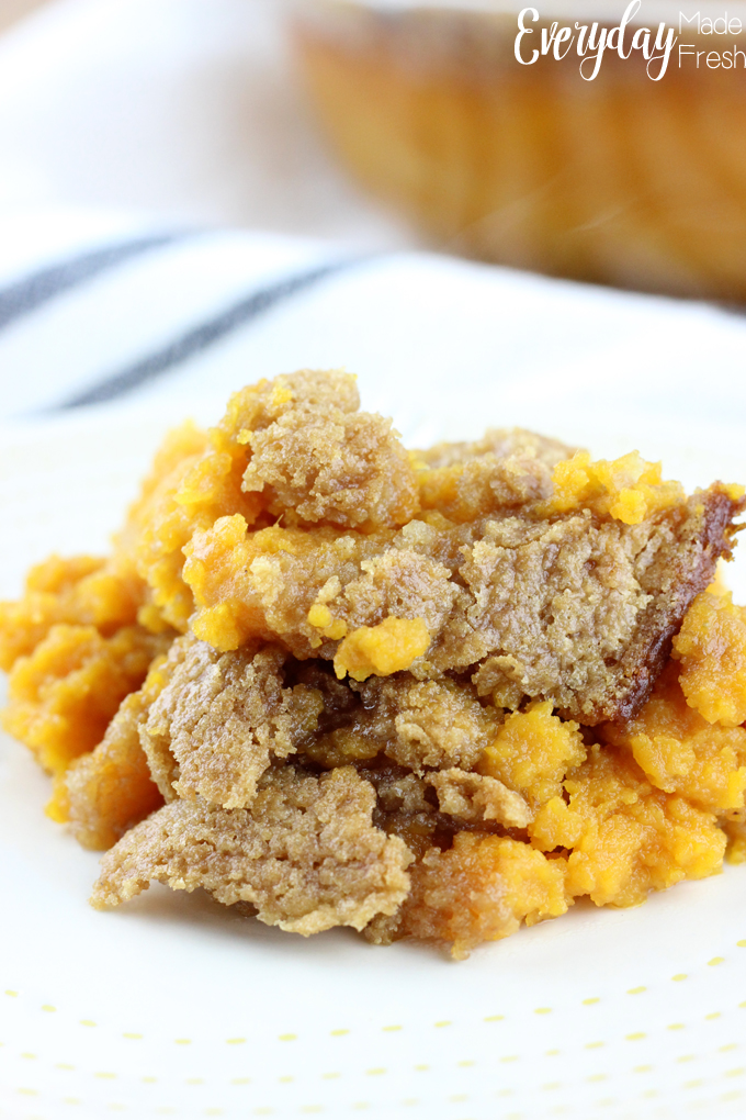 This isn't your ordinary holiday side dish. The Best Ever Sweet Potato Casserole has a secret ingredient that is unexpected, and you're gonna love it! | EverydayMadeFresh.com