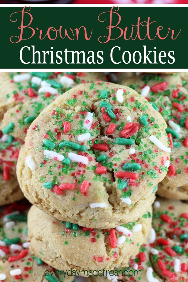 These Brown Butter Christmas Cookies are your classic sugar cookie with a nutty browned butter flavor. They are the richest most delectable cookie around!
