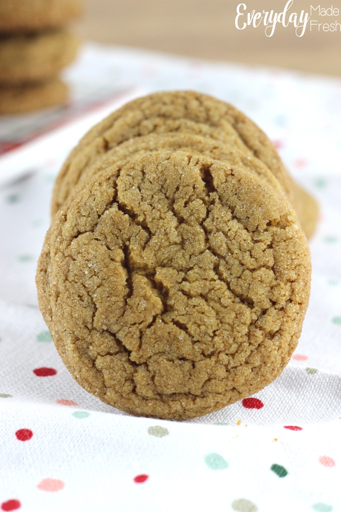 Molasses Cookies are an old fashioned holiday favorite. They are super soft and have rich flavors of molasses, cinnamon, and ginger.