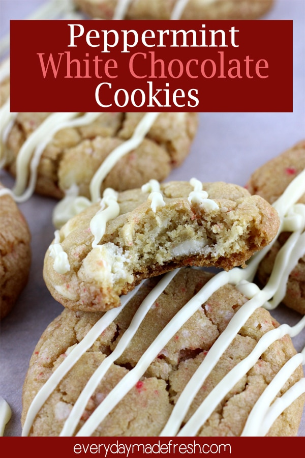 Peppermint extract, white chocolate chips, and crushed peppermint candies make these melt in your mouth. These Peppermint White Chocolate Cookies will become a holiday favorite.