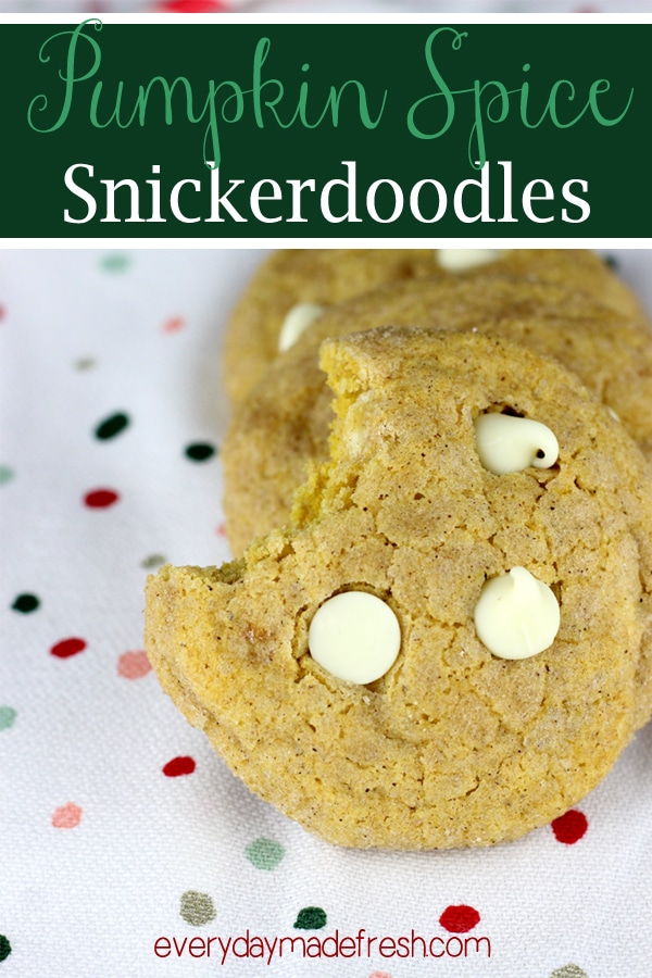 Soft and chewy, these Pumpkin Spice Snickerdoodles have just the right amount of spices. White chocolate chips mixed in give these cookies the perfect texture.
