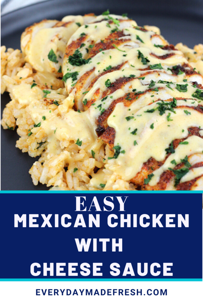 Mexican spiced chicken topped with a creamy cheese sauce makes this, Mexican Chicken with Cheese Sauce delicious any night of the week. Pair it with the Perfect Mexican Rice for a complete meal that your family will be begging for more.