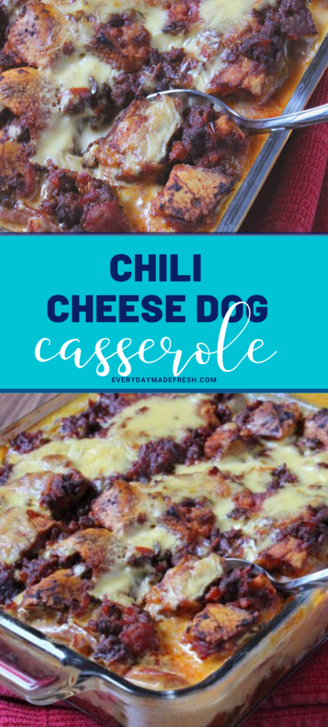 The American classic chili cheese dog has been turned into an easy weeknight casserole, with this Chili Cheese Dog Casserole, that the whole family will love!  | EverydayMadeFresh.com