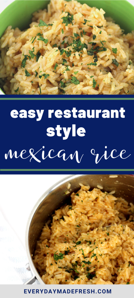 Easy Restaurant Style Mexican Rice doesn't have to come from a box or a restaurant, this is the perfect side dish alongside your next Taco Tuesday! | EverydayMadeFresh.com