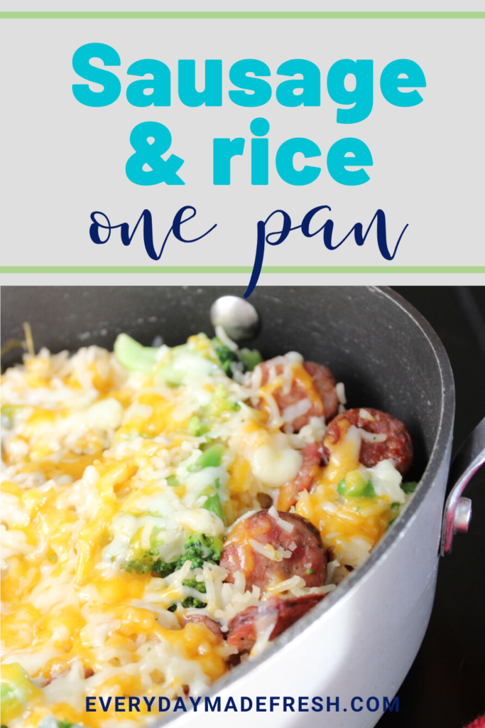 Smoked sausage, sharp cheddar cheese, and broccoli come together in this family pleasing, easy clean up - One Pan Sausage Rice and Broccoli. | EverydayMadeFresh.com