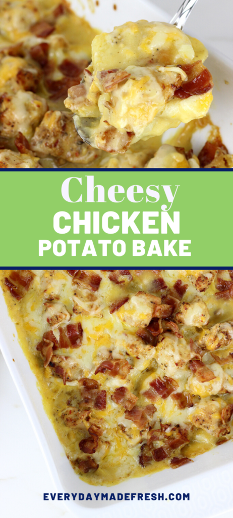 This is such a simple dinner to have ready in no time. Everybody will love this cheesy chicken and potato bake.