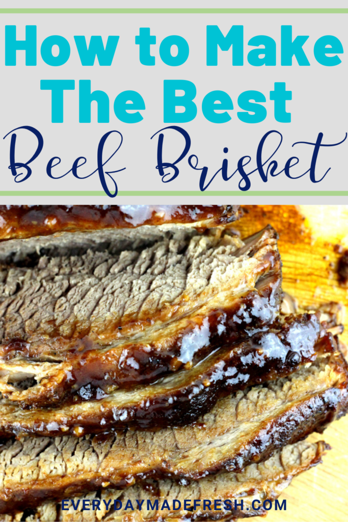 This juicy beef brisket recipe is easy to make - rubbed in a delicious dry rub and then smothered in barbecue sauce. I'll show you how to make the best beef brisket!