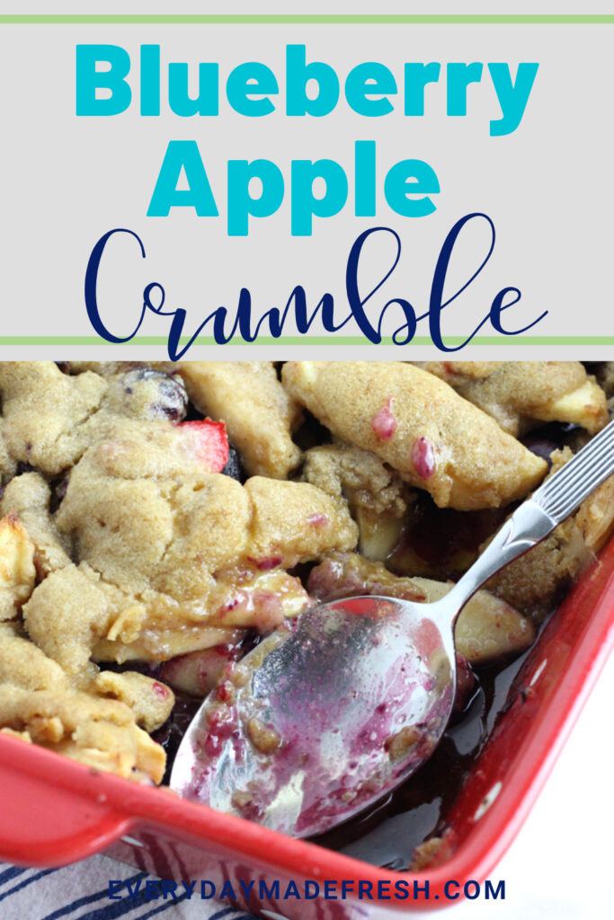 Blueberries and apple come together, baked with a sugar cookie crumble to create a blueberry apple crumble to die for!