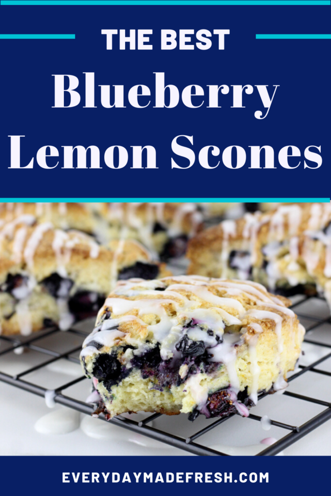 Fresh plump blueberries and lemon zest come together to make the tastiest scone! You'll want these Blueberry Lemon Scones for breakfast all the time!