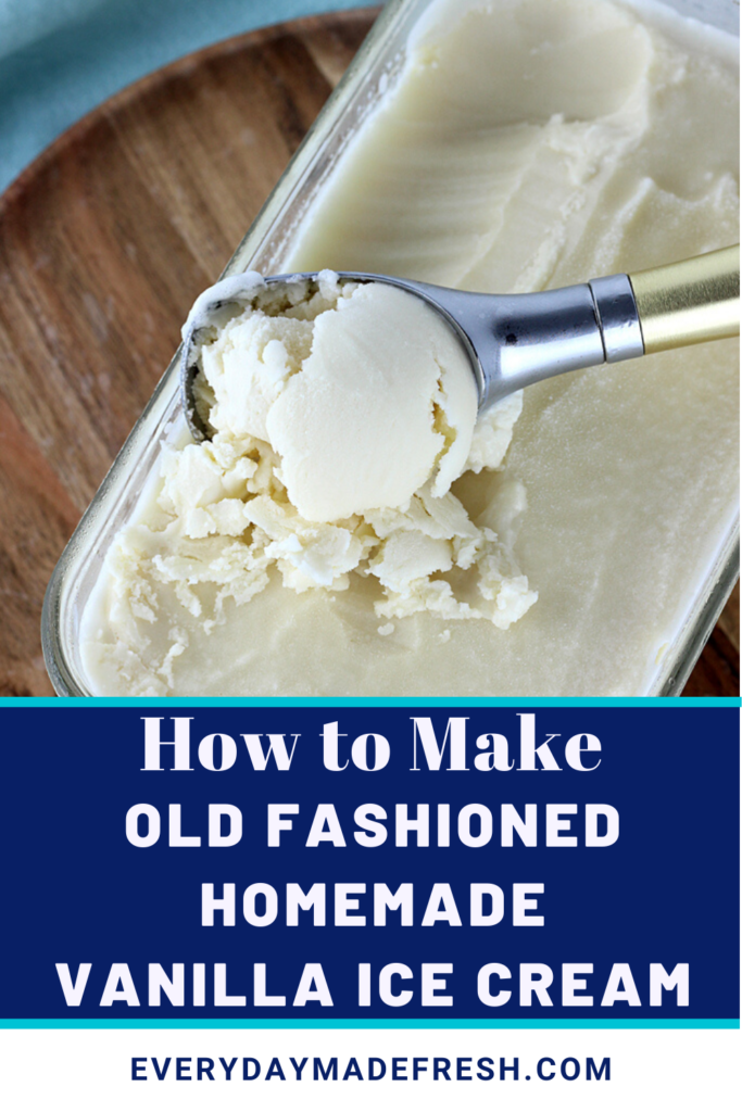 This recipe for Old Fashioned Homemade Vanilla Ice Cream has been in my family long before I was born. It's the one summer staple that everyone loves! And, you won't find heavy cream in our family recipe.