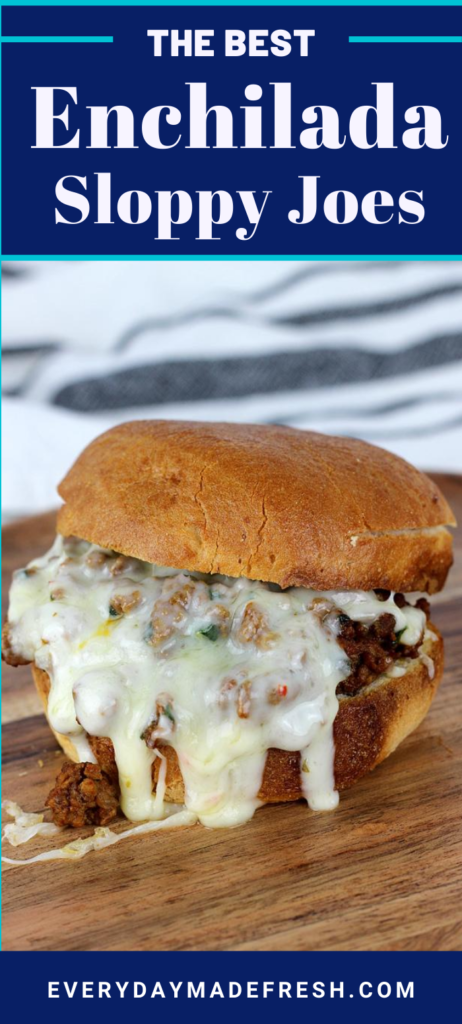 This is not your typical sloppy joe recipe! These Cheesy Enchilada Sloppy Joes have a tasty tex-mex twist that your family will love.