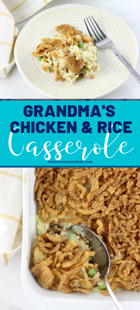 Grandma's Chicken and Rice Casserole is a classic family favorite. Oven, Slow Cooker & Instant Pot Directions! This casserole is a great way to use a rotisserie or leftover chicken. A creamy sauce with peas and carrots tie this together for a complete meal.