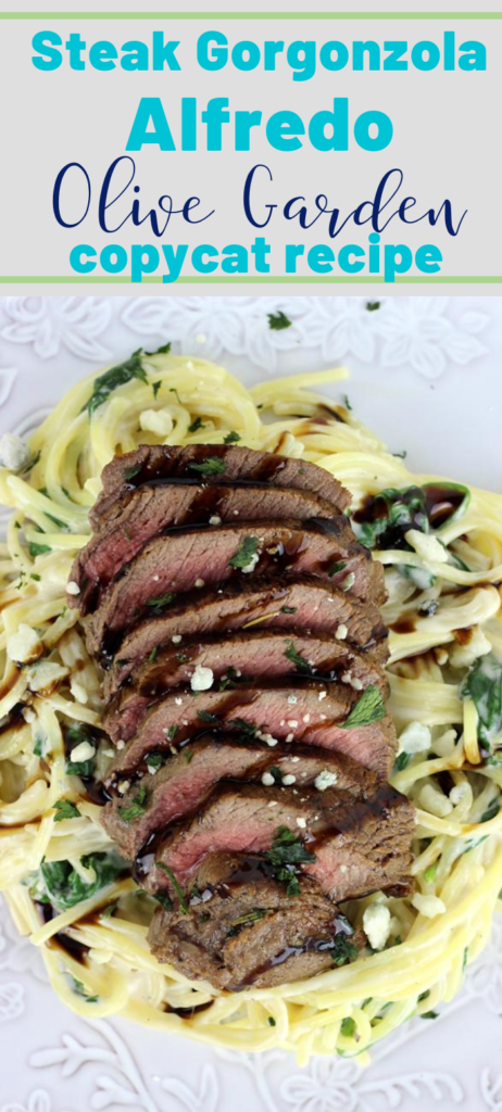 Everything you know and love about the original- This Steak Gorgonzola Alfredo - Olive Garden's Copycat is easy to recreate at home. This recipe features slices of steak in a creamy gorgonzola sauce with fresh spinach, topped with a balsamic glaze that is out of this world delicious!