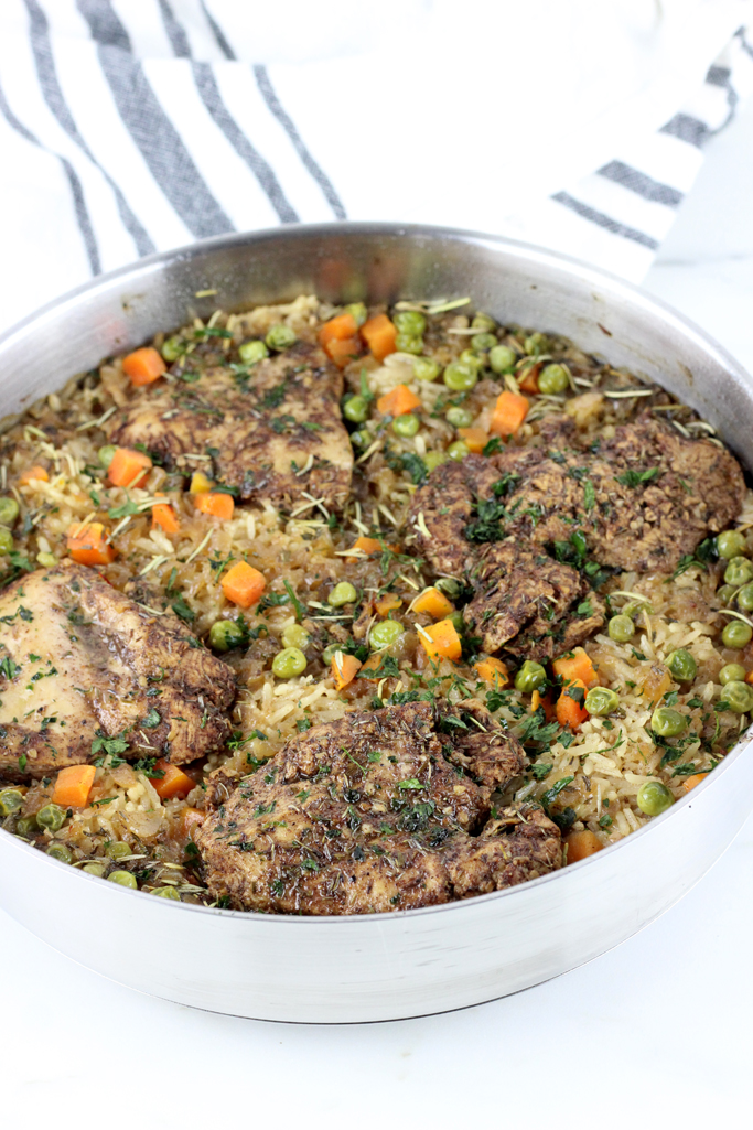 Jerk spiced chicken and Mediterranean rice pair perfectly together in this one pan jerk chicken and rice dish!