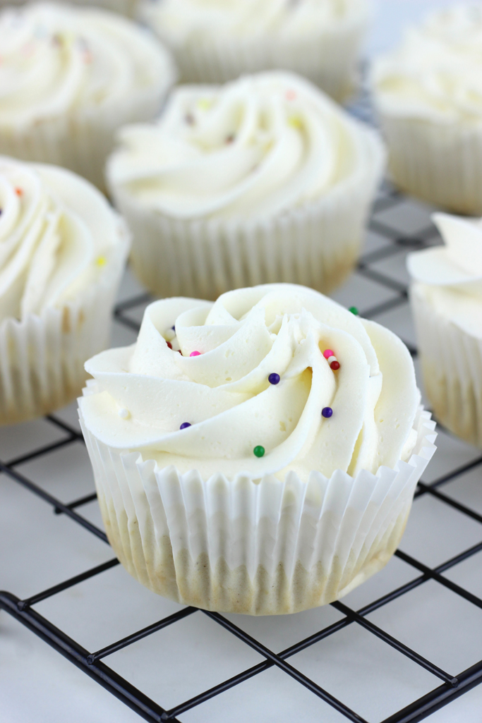 No eggs, no problem. These Simple Vanilla Cupcakes are eggless, and taste like they were made in the finest bakery!