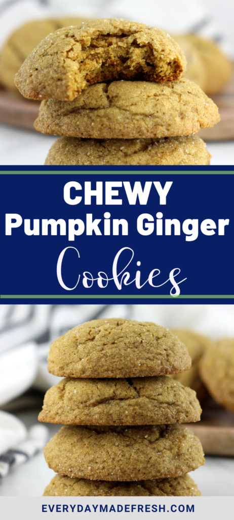 These Chewy Pumpkin Gingersnap Cookies are thick and chewy with plenty of spice and warmth. These molasses cookies will become your fall favorite!