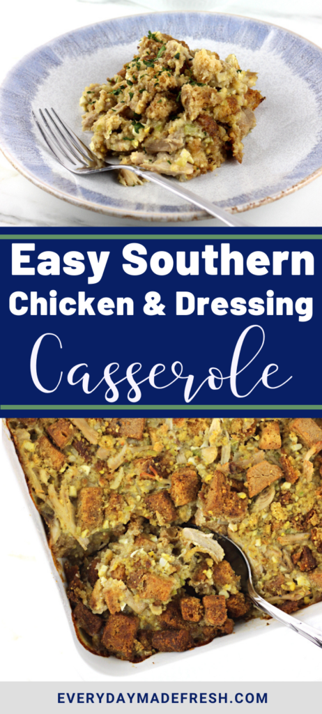 This Easy Southern Chicken and Dressing Casserole is made with shredded chicken, a traditional cornbread and is perfect served for Thanksgiving or any night of the week you're craving comfort food. This is also an excellent way to use turkey!