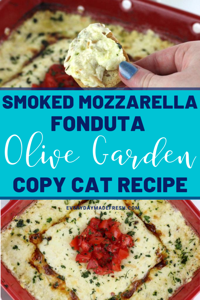 This Smoked Mozzarella Fonduta is a copycat for the popular recipe from Olive Garden. Made with Italian cheeses and sour cream, this dish is a smokey, creamy, cheesy favorite. Serve alongside toasted bread for the perfect appetizer or side dish.