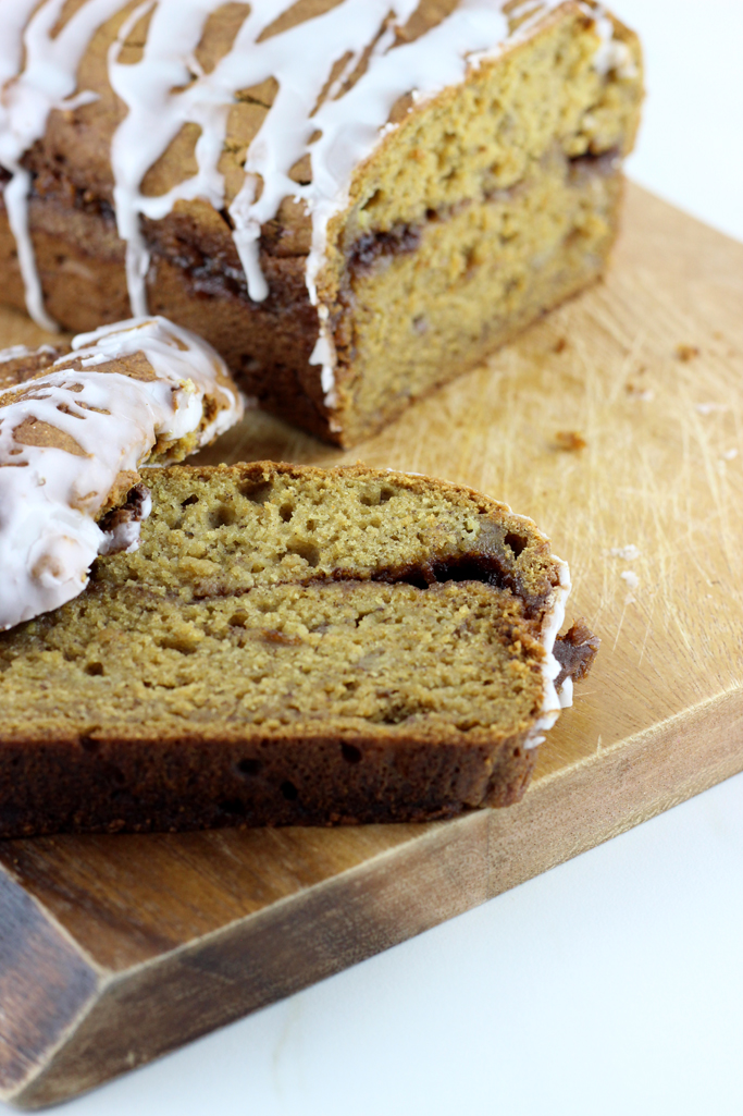 Cinnamon Swirl Pumpkin Banana Bread is so moist and tender. It's the perfect way to celebrate fall.
