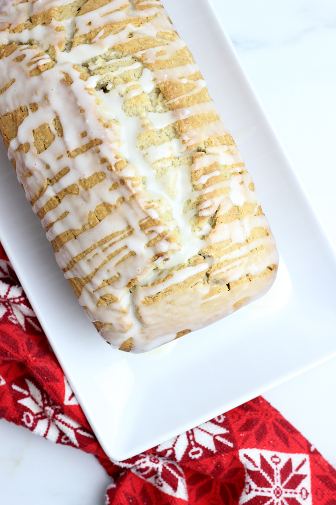 The Best Cinnamon Spiced Eggnog Bread is a Christmas favorite! It's perfect for dessert or breakfast.