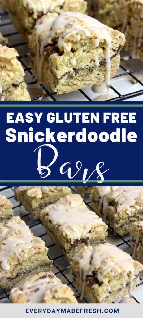 Thick, soft and chewy, buttery and moist - These Easy Gluten Free Snickerdoodle Bars are your favorite cookie in bar form!