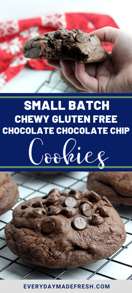 Decadent dark chocolate and chocolate chips make these Small Batch Chewy Gluten Free Chocolate Chocolate Chip Cookies the best cookie you've ever tasted!