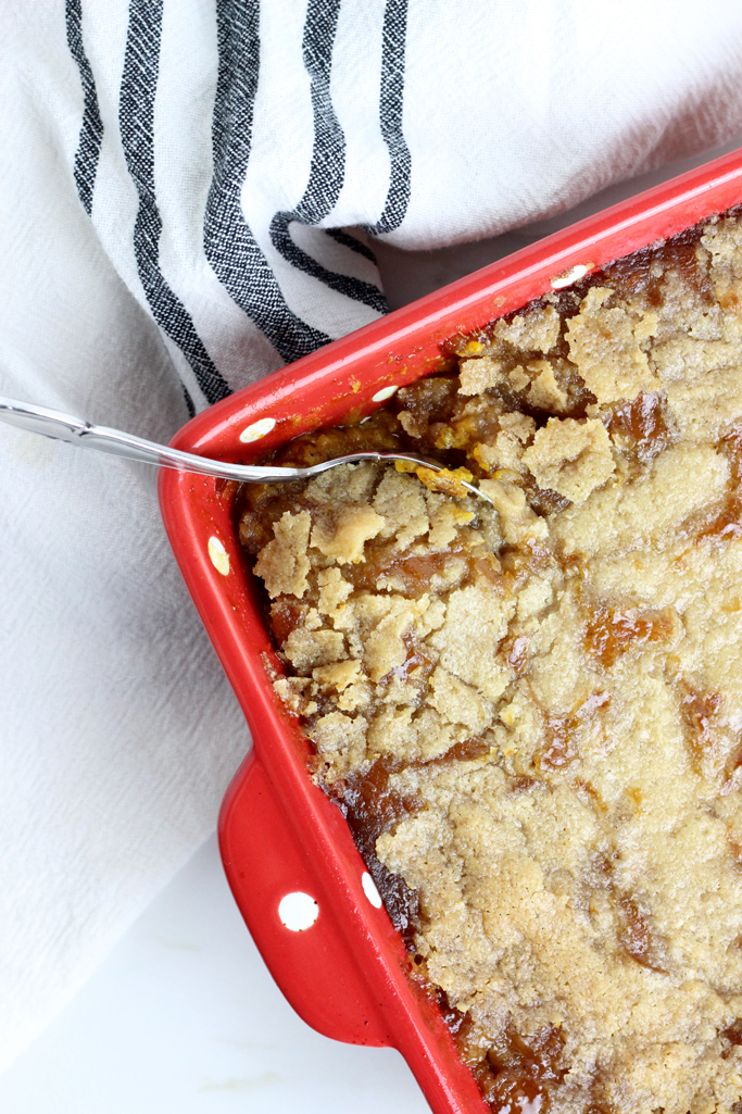 A crunchy, buttery, sweet crumble topping over a creamy spiced pumpkin whip makes this Pumpkin Crumble Casserole delectable! It will quickly become one of your holiday favorites!