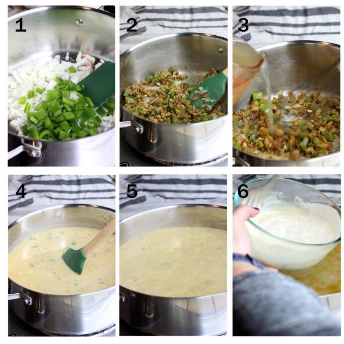 6 steps showing how to make vegetarian enchilada soup.